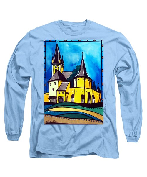 Fortified Medieval Church In Transylvania By Dora Hathazi Mendes Long Sleeve T-Shirt by Dora Hathazi Mendes