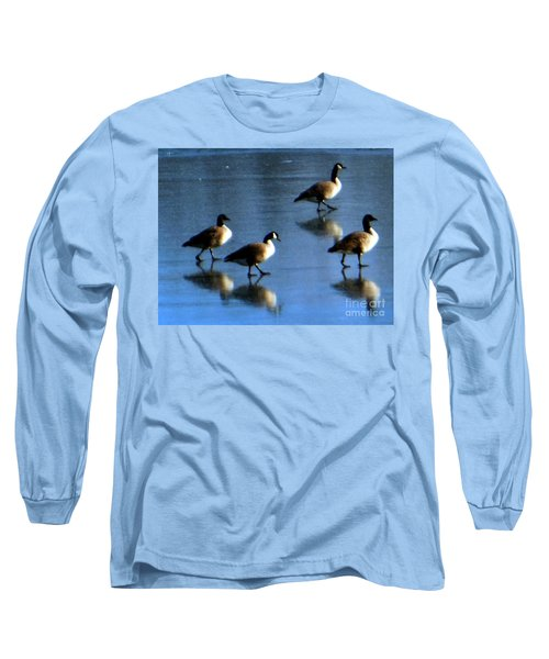 Long Sleeve T-Shirt featuring the photograph Four Geese Walking On Ice by Rockin Docks Deluxephotos