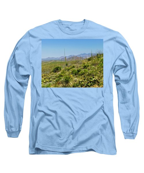 Franklin Mountains State Park Facing North Long Sleeve T-Shirt by Allen Sheffield