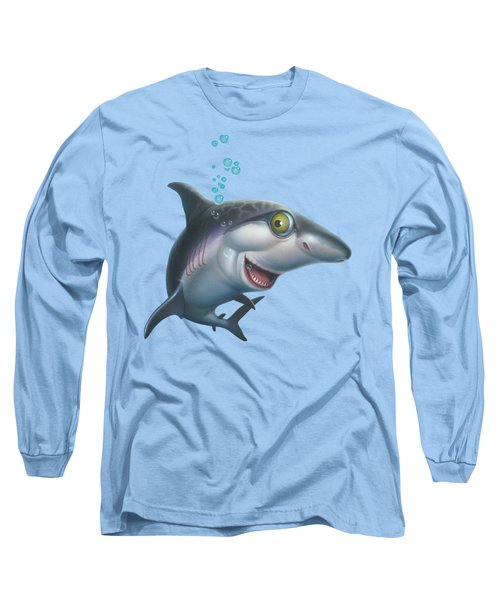 friendly Shark Cartoony cartoon under sea ocean underwater scene art print blue grey  Long Sleeve T-Shirt