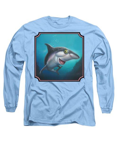 Friendly Shark Cartoony Cartoon - Under Sea - Square Format Long Sleeve T-Shirt