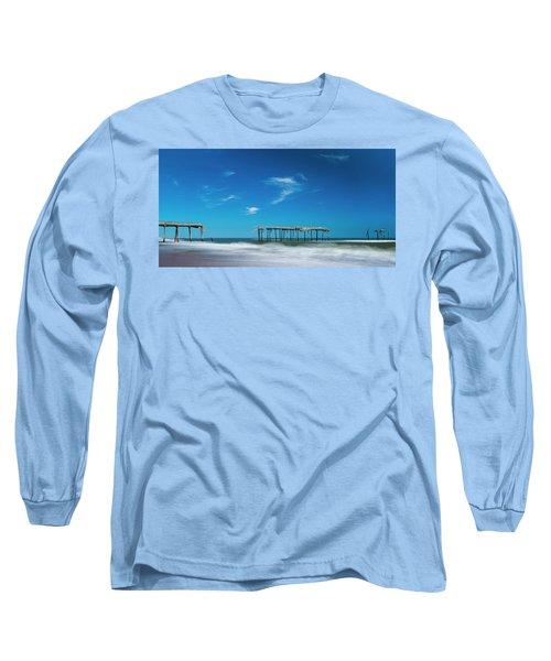 Frisco Fishing Pier In North Carolina Panorama Long Sleeve T-Shirt