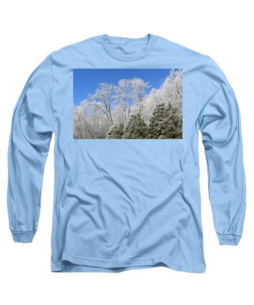 Frosted Trees Blue Sky 1 Long Sleeve T-Shirt