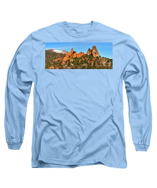 Long Sleeve T-Shirt featuring the photograph Garden Of The Gods High Point Panorama by Adam Jewell