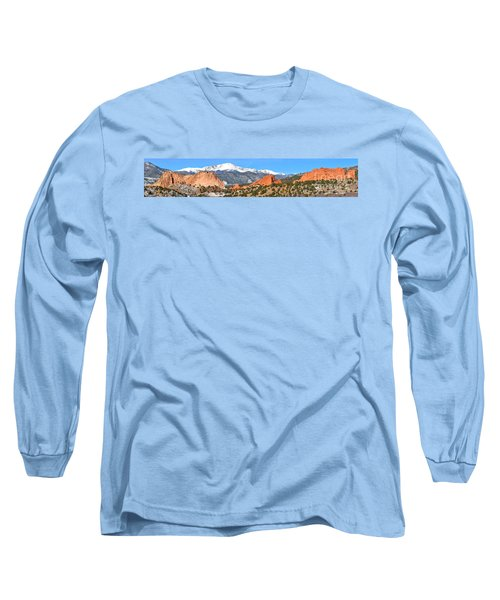 Long Sleeve T-Shirt featuring the photograph Garden Of The Gods Red Rock Panorama by Adam Jewell