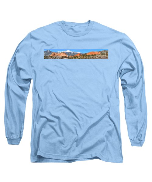 Long Sleeve T-Shirt featuring the photograph Garden Of The Gods Spring Panorama by Adam Jewell