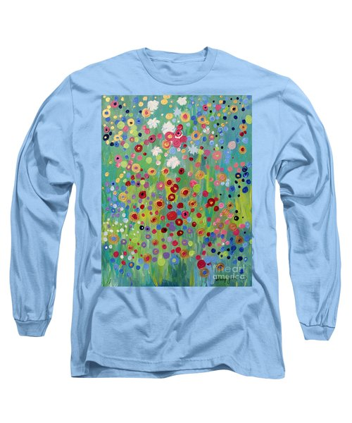 Long Sleeve T-Shirt featuring the painting Garden's Dance by Stacey Zimmerman