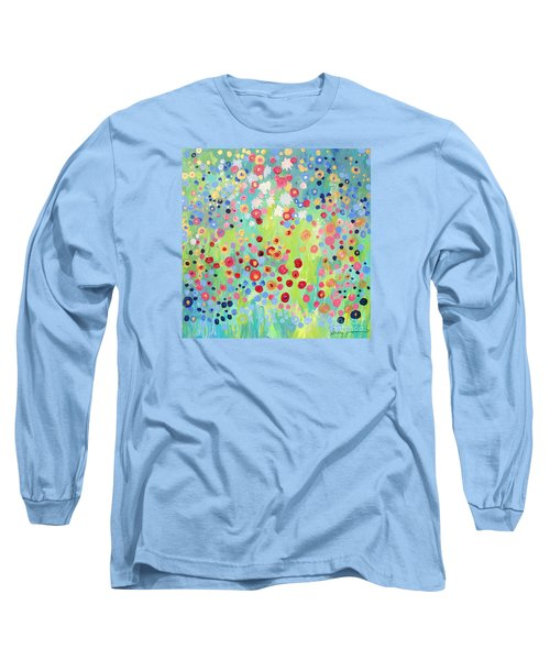 Long Sleeve T-Shirt featuring the painting Garden's Delight by Stacey Zimmerman