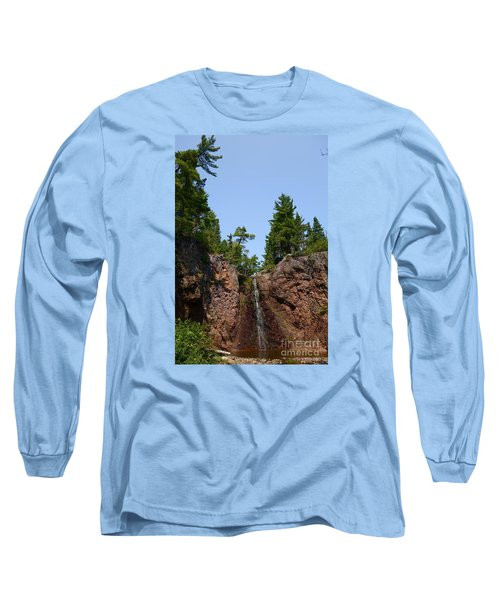 Long Sleeve T-Shirt featuring the photograph Gauthier Falls In Late August by Sandra Updyke
