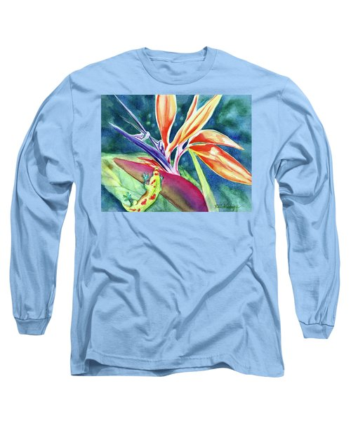 Gecko On Bird Of Paradise Long Sleeve T-Shirt