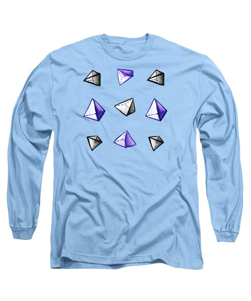 Geometric Watercolor Pyramid Pattern Long Sleeve T-Shirt