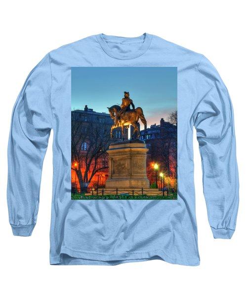 Long Sleeve T-Shirt featuring the photograph George Washington Statue In Boston Public Garden by Joann Vitali