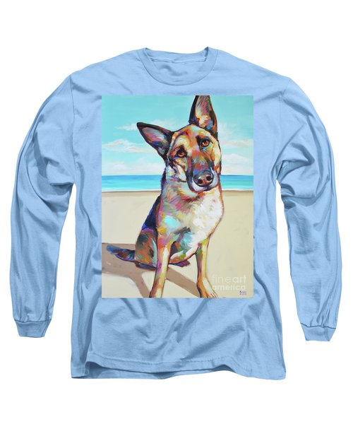 German Shepard On The Beach Long Sleeve T-Shirt