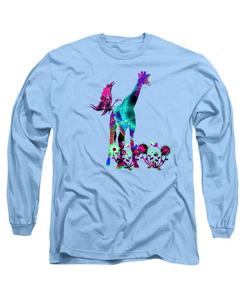 Giraffe And Flowers2 Long Sleeve T-Shirt by EricaMaxine  Price