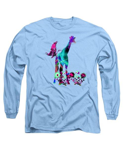 Giraffe And Flowers2 Long Sleeve T-Shirt