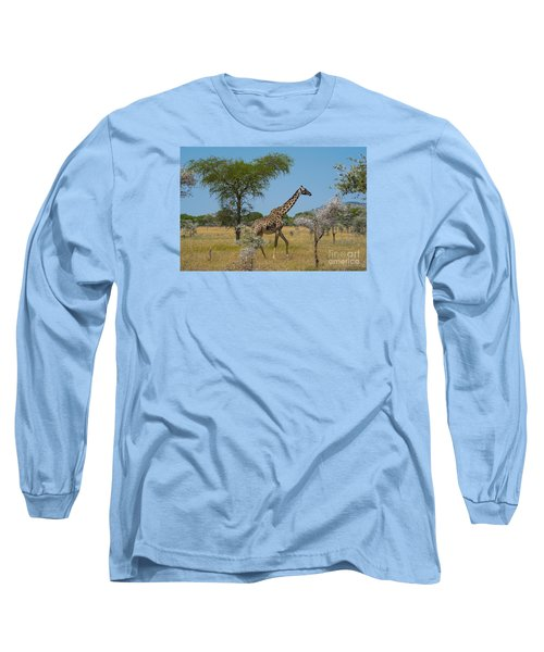 Giraffe On The Move Long Sleeve T-Shirt by Pravine Chester