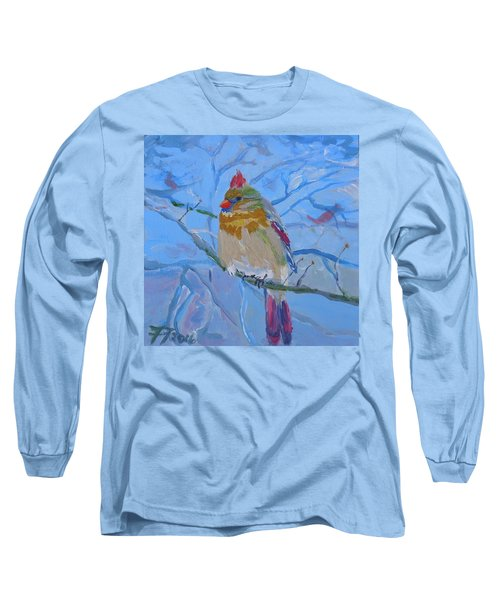 Long Sleeve T-Shirt featuring the painting Girl Cardinal by Francine Frank