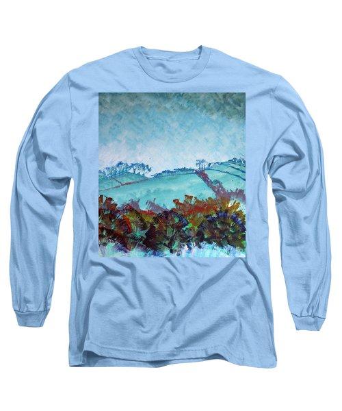 Gloomy Overcast Cloudy Day Devon Rolling Hills Long Sleeve T-Shirt