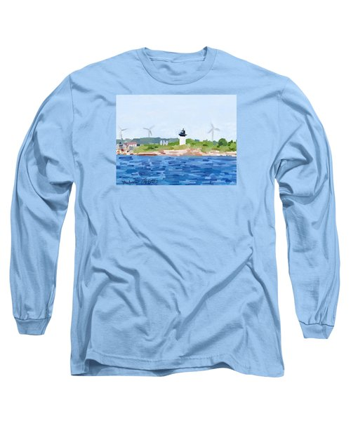 Gloucester Skyline From Harbor With Windmills And Ten Pound Island Lighthouse Long Sleeve T-Shirt