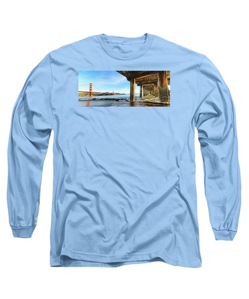 Long Sleeve T-Shirt featuring the photograph Golden Gate Bridge From Under Fort Point Pier by Steve Siri