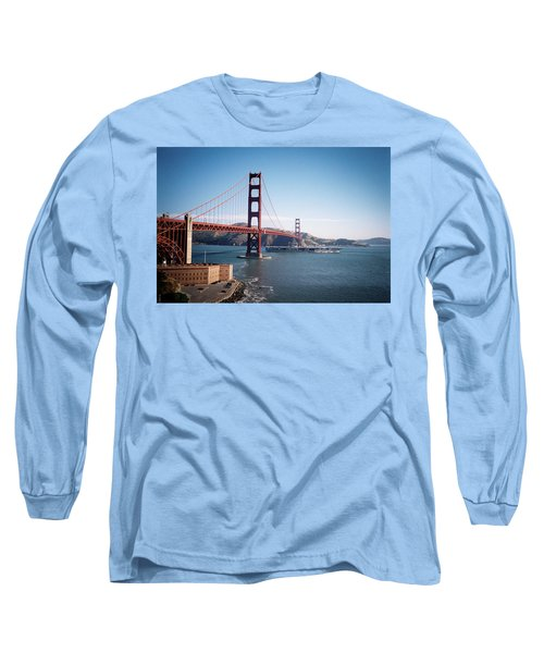 Golden Gate Bridge With Aircraft Carrier Long Sleeve T-Shirt