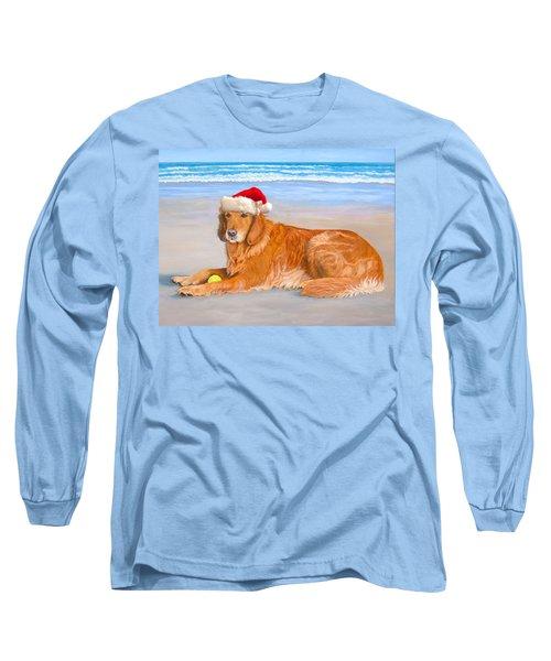 Long Sleeve T-Shirt featuring the painting Golden Retreiver Holiday Card by Karen Zuk Rosenblatt
