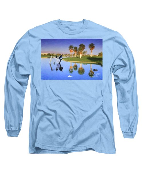 Long Sleeve T-Shirt featuring the photograph Golf Cart Stuck In Water by David Zanzinger