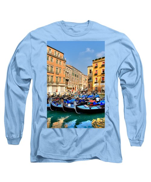 Gondolas In The Square Long Sleeve T-Shirt by Peter Tellone