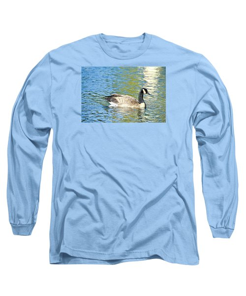 Long Sleeve T-Shirt featuring the photograph Goose And Sun Reflections by David Lawson