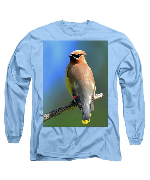 Gorgeous Cedar Waxwing Long Sleeve T-Shirt by Rodney Campbell