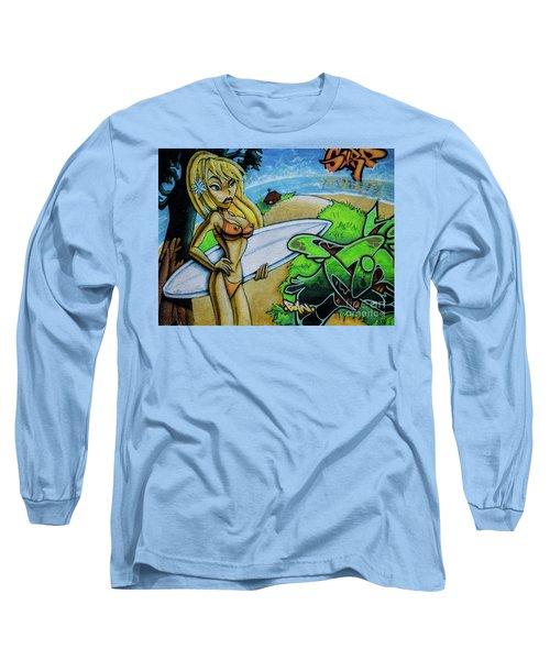 Graffiti-surfgirl Long Sleeve T-Shirt