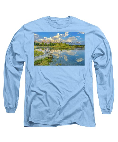 Grand Teton Riverside Morning Reflection Long Sleeve T-Shirt