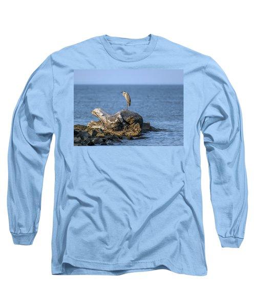 Great Blue Heron On Chesapeake Bay Long Sleeve T-Shirt