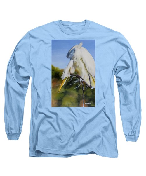 Long Sleeve T-Shirt featuring the painting Great Egret In Fall by Phyllis Beiser