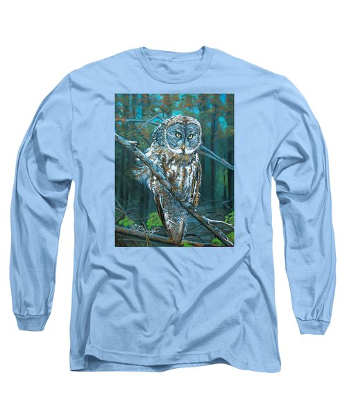 Great Grey Owl Long Sleeve T-Shirt by Sharon Duguay