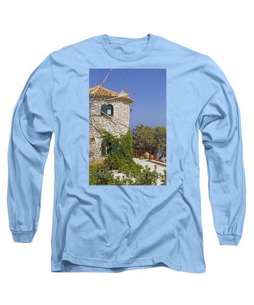 Greek Windmill Long Sleeve T-Shirt by Rainer Kersten