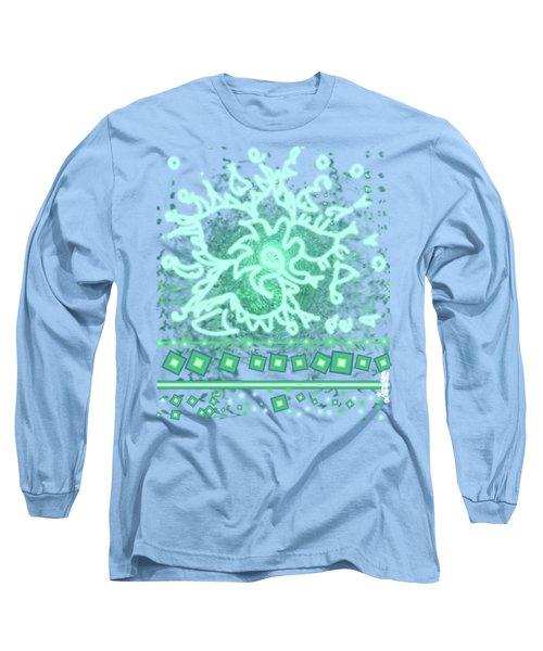 Green Floral Design Long Sleeve T-Shirt