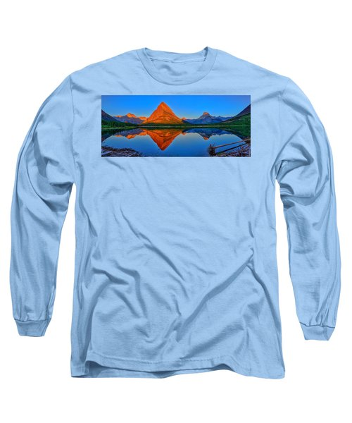 Grinnell Point Alpenglow Panorama Long Sleeve T-Shirt by Greg Norrell