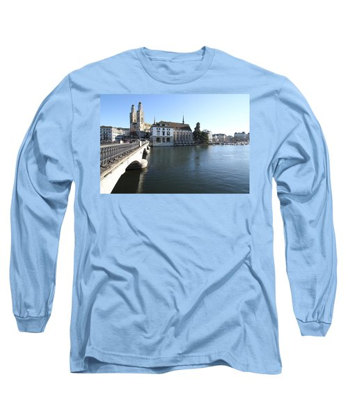 Long Sleeve T-Shirt featuring the photograph Grossmunster, Wasserkirche And Munsterbrucke - Zurich by Travel Pics