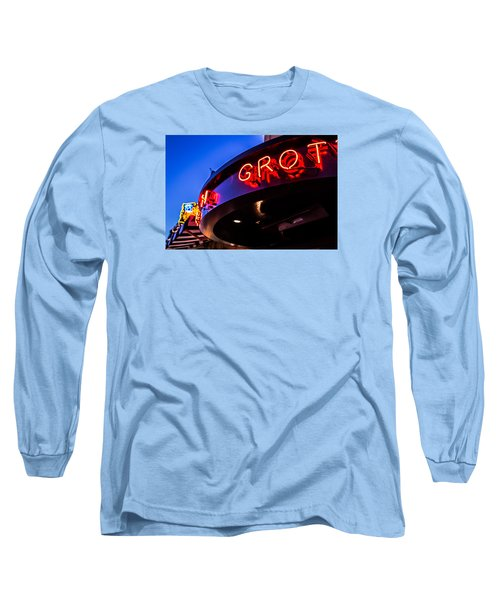 Long Sleeve T-Shirt featuring the photograph Grotto - Night View by Lora Lee Chapman