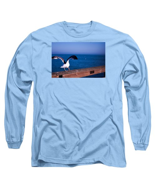 Long Sleeve T-Shirt featuring the photograph Gull Dance by Lora Lee Chapman