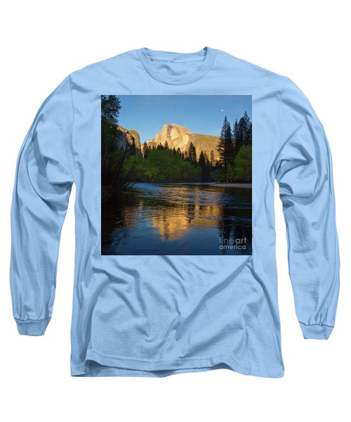 Half Dome And The Merced River With The Moon Long Sleeve T-Shirt