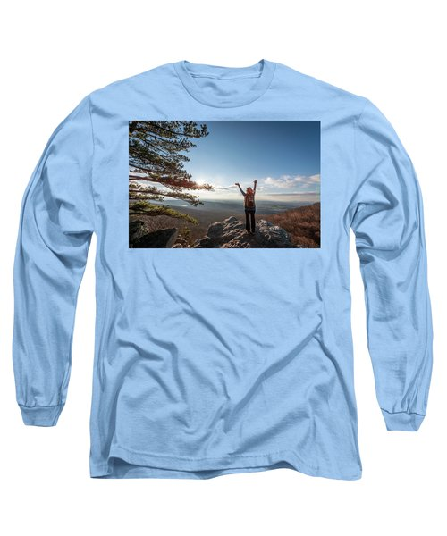 Happy Female Hiker At The Summit Of An Appalachian Mountain Long Sleeve T-Shirt