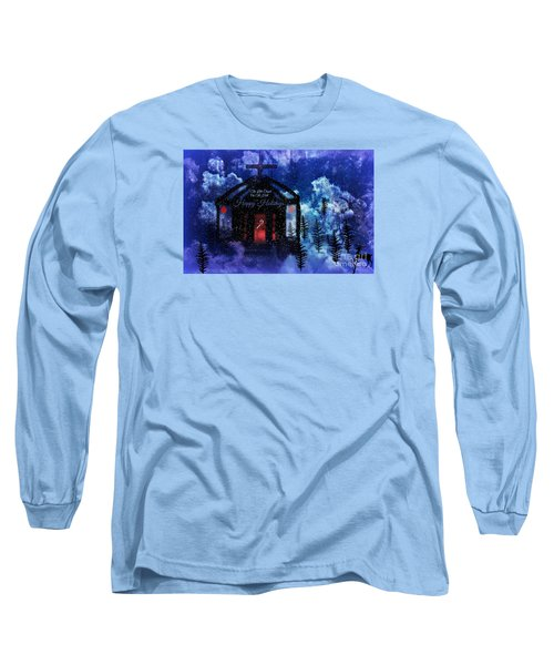 Long Sleeve T-Shirt featuring the digital art Happy Holiday Little Chapel On The Hill by Sherri  Of Palm Springs