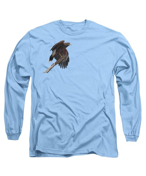 Long Sleeve T-Shirt featuring the photograph Harris Hawk - Transparent 2 by Nikolyn McDonald