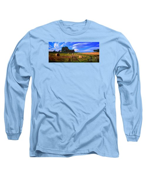 Hay Rolls On The Farm By Christopher Shellhammer Long Sleeve T-Shirt