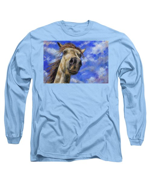 Long Sleeve T-Shirt featuring the pastel Head In The Clouds by Billie Colson