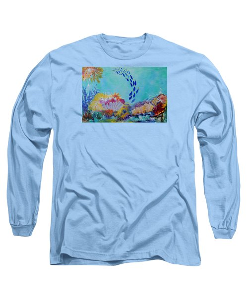 Long Sleeve T-Shirt featuring the painting Heading For The Coral by Lyn Olsen