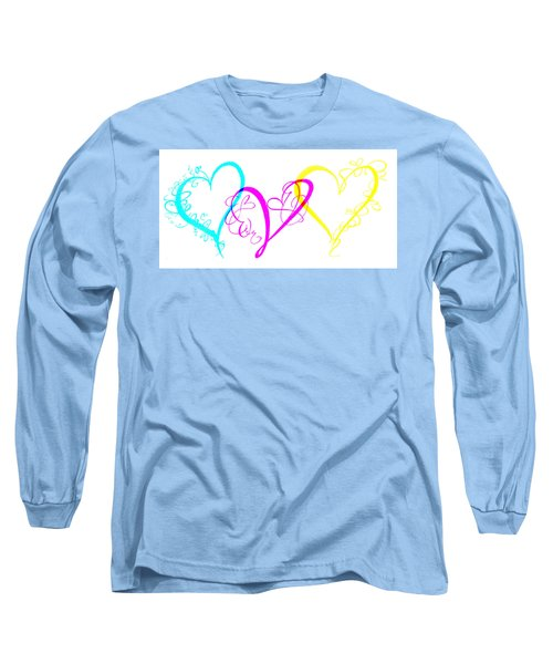 Hearts On White Long Sleeve T-Shirt by Swank Photography