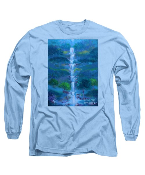 Long Sleeve T-Shirt featuring the painting Heavenly Falls by Stacey Zimmerman
